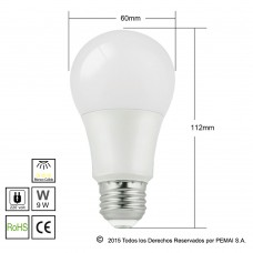 Lámparas LED E27 9W Blanco Cálido